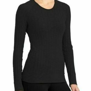 Athleta XS Black Epitomize Top Quilted Long Sleeve